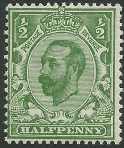 SG334 ½d Pale Green Type I Die B Simple Cypher Watermark Unmounted Mint (King George V Downey Head Stamps)